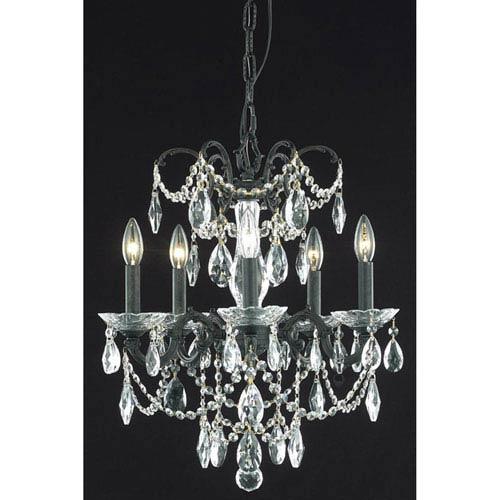 Elegant Lighting Athena Dark Bronze Five-Light Chandelier with Clear Royal Cut Crystal