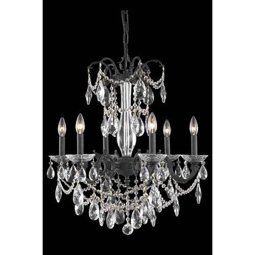 Elegant Lighting Athena Dark Bronze Six-Light Chandelier with Clear Royal Cut Crystal