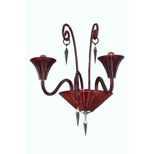 Symphony Red Two-Light Wall Sconce with Elegant Cut Crystal