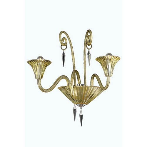 Symphony Yellow Two-Light Wall Sconce with Elegant Cut Crystal