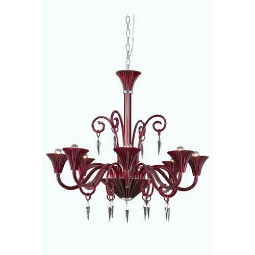 Elegant Lighting Symphony Red Eight-Light Chandelier with Elegant Cut Crystal