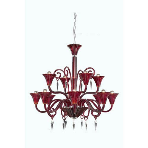 Symphony Red 12-Light Chandelier with Elegant Cut Crystal