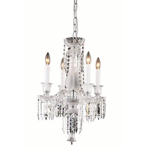 Elegant Lighting Majestic Elegant Cut Crystal Chrome Four Light 24-in Pendant