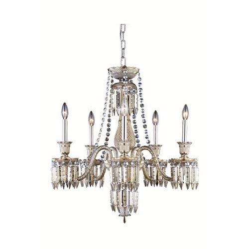 Elegant Lighting Majestic Elegant Cut Crystal Golden Teak Five Light 34-in Chandelier