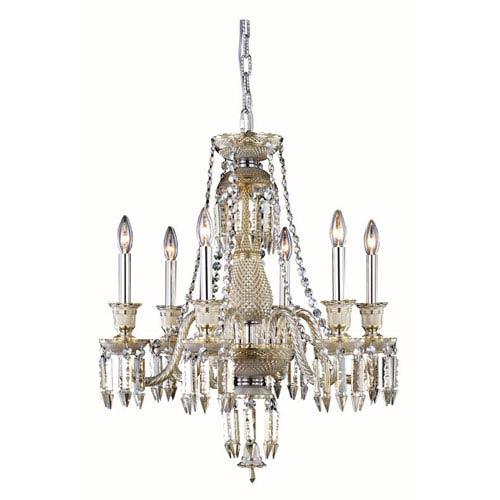 Elegant Lighting Majestic Elegant Cut Crystal Golden Teak Six Light 26-in Chandelier