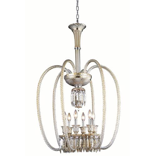 Elegant Lighting Majestic Elegant Cut Crystal Golden Teak Six Light 40-in Chandelier