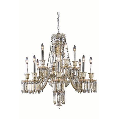 Elegant Lighting Majestic Elegant Cut Crystal Golden Teak 12 Light 31-in Chandelier