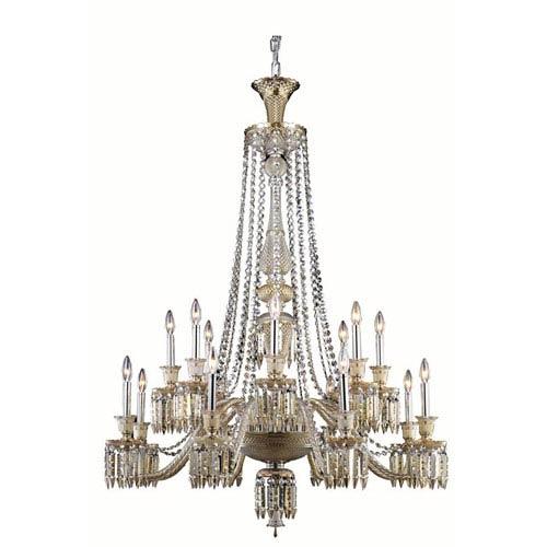 Elegant Lighting Majestic Elegant Cut Crystal Golden Teak 16 Light 55-in Chandelier