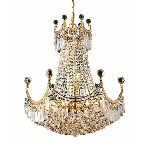 Corona Gold Nine-Light 20-Inch Chandelier with Royal Cut Clear Crystal