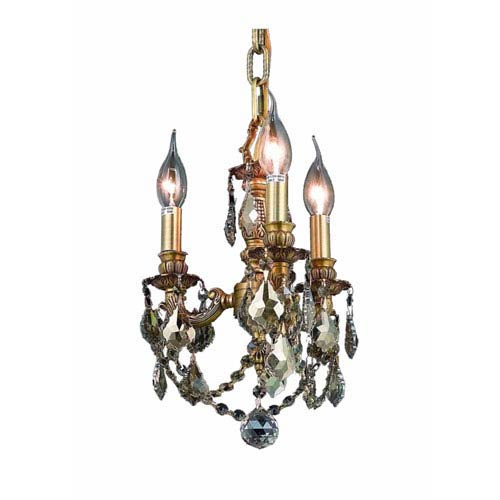Lillie French Gold Three-Light 10-Inch Mini Chandelier with Royal Cut Golden Teak Smoky Crystal