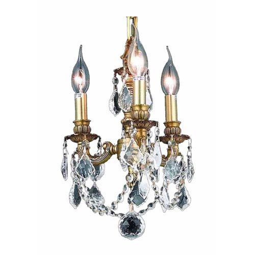 Lillie French Gold Three-Light 10-Inch Mini Chandelier with Royal Cut Clear Crystal