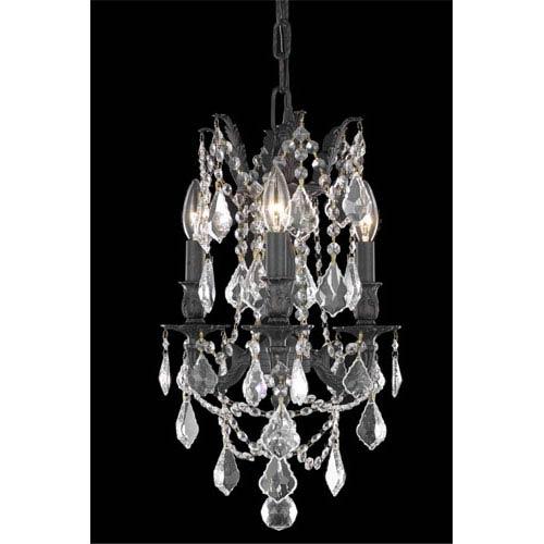 Elegant Lighting Rosalia Dark Bronze Three-Light Chandelier with Clear Royal Cut Crystals