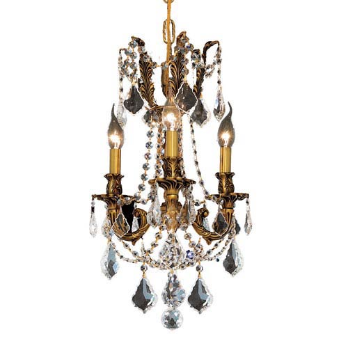 Rosalia French Gold Three-Light 13-Inch Mini Chandelier with Royal Cut Clear Crystal
