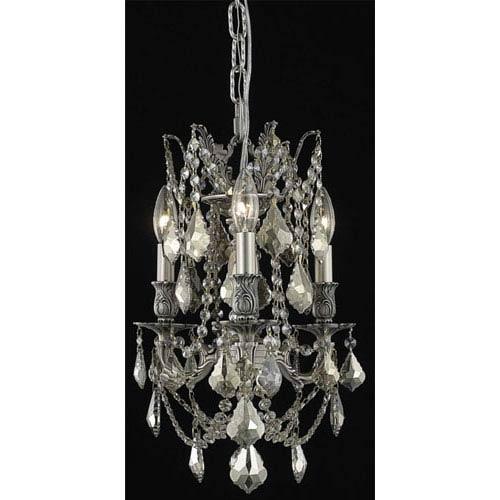 Rosalia Pewter Three-Light Chandelier with Golden Teak/Smoky Royal Cut Crystals