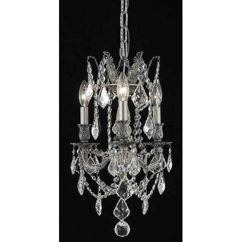 Elegant Lighting Rosalia Pewter Three-Light Chandelier with Clear Royal Cut Crystals
