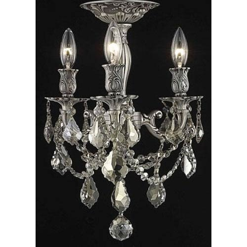 Elegant Lighting Rosalia Pewter Three-Light Semi-Flush Mount with Golden Teak/Smoky Royal Cut Crystals