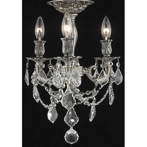 Rosalia Pewter Three-Light Semi-Flush Mount with Clear Royal Cut Crystals
