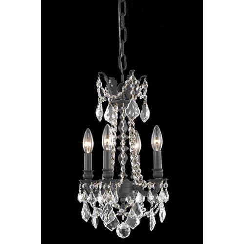 Elegant Lighting Rosalia Dark Bronze 10-Inch Four-Light Chandelier with Royal Cut Crystal