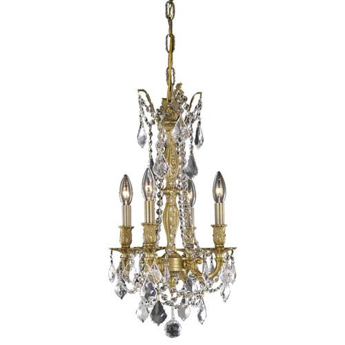 Elegant Lighting Rosalia French Gold Four-Light Chandelier with Royal Cut Crystal