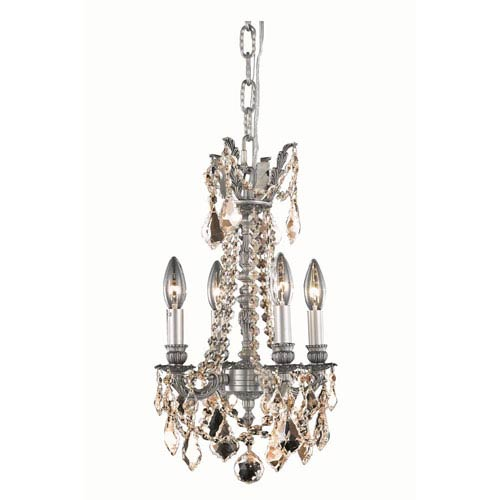 Elegant Lighting Rosalia Pewter Four-Light Chandelier with Royal Cut Crystal
