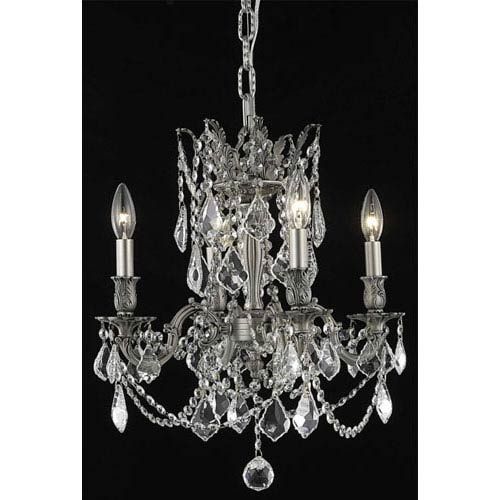 Elegant Lighting Rosalia Pewter Four-Light Chandelier with Clear Royal Cut Crystals