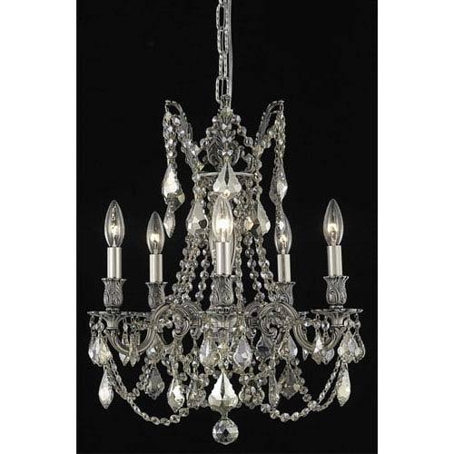 Elegant Lighting Rosalia Pewter Five-Light Chandelier with Golden Teak/Smoky Royal Cut Crystals
