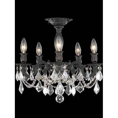 Elegant Lighting Rosalia Dark Bronze Five-Light Semi-Flush Mount with Clear Royal Cut Crystals
