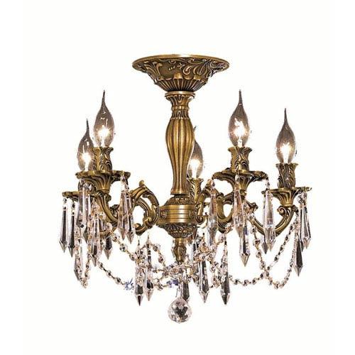 Elegant Lighting Rosalia French Gold Five-Light Flush Mount with Swarovski Strass/Elements Golden Shadow Crystal