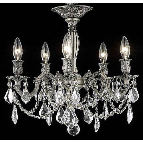 Elegant Lighting Rosalia Pewter Five-Light Semi-Flush Mount with Clear Royal Cut Crystals