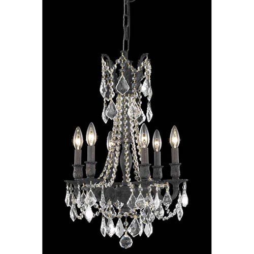 Elegant Lighting Rosalia Dark Bronze 16-Inch Six-Light Chandelier with Royal Cut Crystal