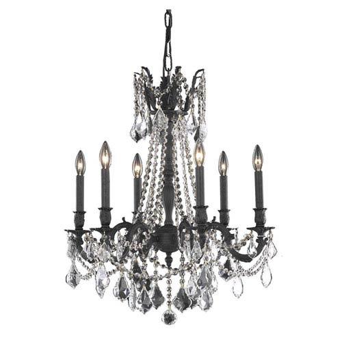 Rosalia Dark Bronze 23-Inch Six-Light Chandelier with Royal Cut Crystal