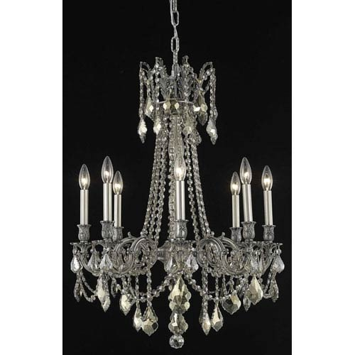 Elegant Lighting Rosalia Pewter Eight-Light Chandelier with Golden Teak/Smoky Royal Cut Crystals