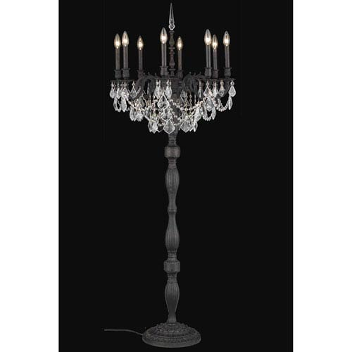Rosalia Dark Bronze Eight-Light Floor Lamp with Royal Cut Crystal