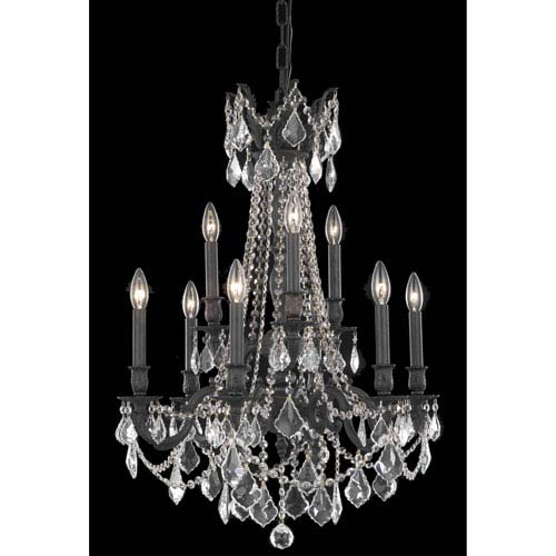 Elegant Lighting Rosalia Dark Bronze Nine-Light Chandelier with Clear Royal Cut Crystals