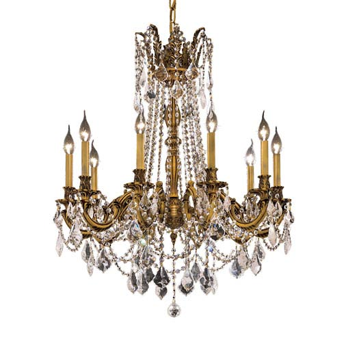 Elegant Lighting Rosalia French Gold Ten-Light 28-Inch Chandelier with Royal Cut Clear Crystal