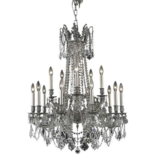 Rosalia Pewter Fifteen-Light Chandelier with Clear Royal Cut Crystals