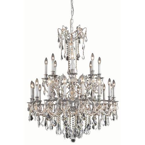 Elegant Lighting Rosalia Pewter 24-Light Chandelier with Royal Cut Crystal