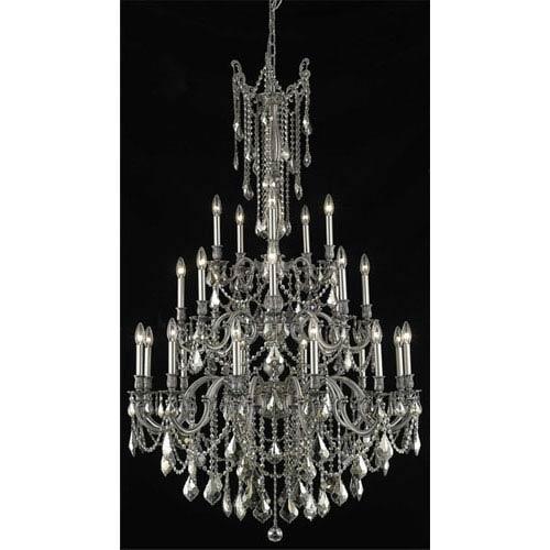 Elegant Lighting Rosalia Pewter Twenty-Five Light Chandelier with Golden Teak/Smoky Royal Cut Crystals