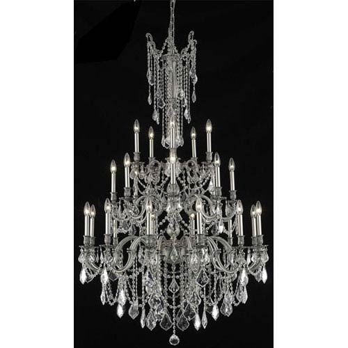 Elegant Lighting Rosalia Pewter Twenty-Five Light Chandelier with Clear Royal Cut Crystals