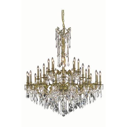 Rosalia Antique Bronze 32-Light Chandelier with Royal Cut Crystal