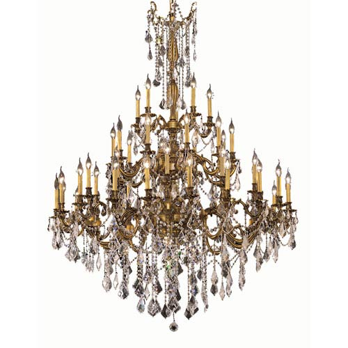 Rosalia French Gold Forty-Five Light 54-Inch Chandelier with Royal Cut Clear Crystal