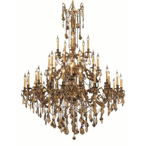 Elegant Lighting Rosalia French Gold 45-Light Chandelier with Golden Teak Royal Cut Crystal