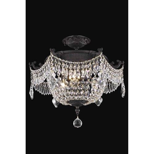 Esperanza Dark Bronze 18-Inch Three-Light Flush Mount with Royal Cut Crystal