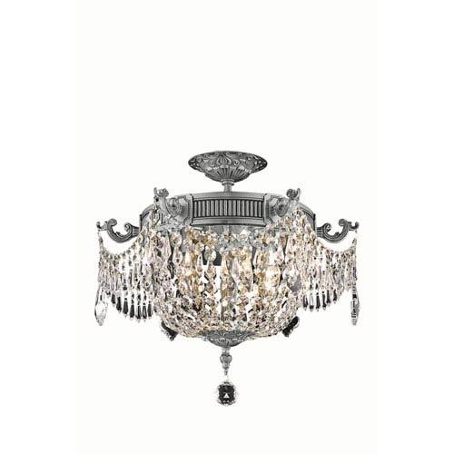Esperanza Pewter Three-Light Flush Mount with Elegant Cut Crystal
