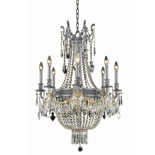Esperanza Pewter 12-Light Chandelier with Swarovski Spectra Crystal