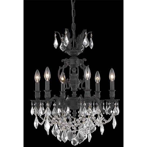 Elegant Lighting Marseille Dark Bronze Six-Light Chandelier with Golden Shadow/Champagne Royal Cut Crystals