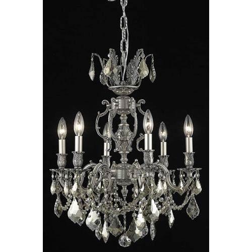 Elegant Lighting Marseille Pewter Six-Light Chandelier with Golden Teak/Smoky Royal Cut Crystals
