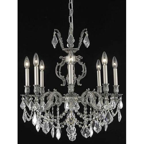 Marseille Pewter Eight-Light Chandelier with Clear Royal Cut Crystals