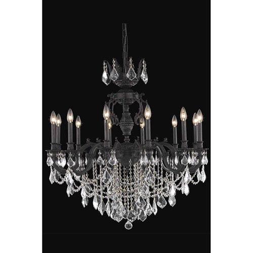 Elegant Lighting Marseille Dark Bronze 12-Light Chandelier with Royal Cut Crystal