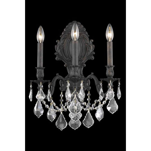 Monarch Dark Bronze Three-Light Sconce with Clear Royal Cut Crystals